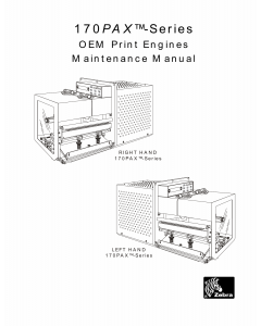 Zebra Label 170PAX Maintenance Service Manual