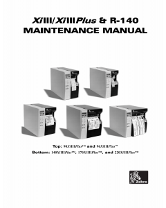 Zebra Label 90 96 140 170 220 XiIIIplus Maintenance Service Manual