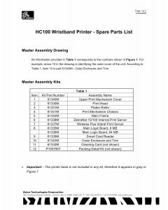 Zebra Label HC100 Parts List