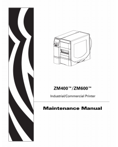 Zebra Label ZM400 ZM600 Maintenance Service Manual