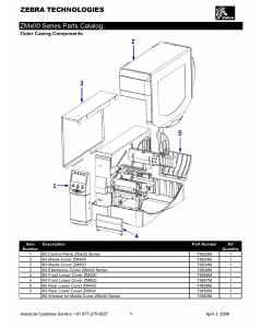 Zebra Label ZM400 ZM600 Parts List
