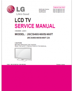 LG LCD TV 26CS460 26CS460S 26CS460T Service Manual