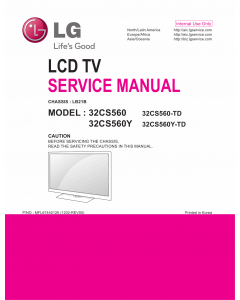 LG LCD TV 32CS560 32CS560Y Service Manual