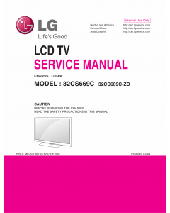 LG LCD TV 32CS669C Service Manual