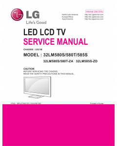 LG LCD TV 32LM580S 32LM580T 32LM585S Service Manual