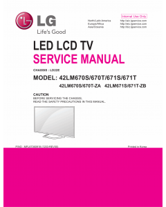 LG LCD TV 42LM670S 42LM670T 42LM671S 42LM671T Service Manual