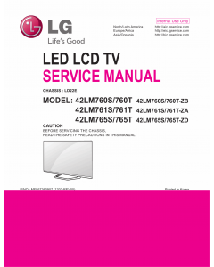 LG LCD TV 42LM760S 42LM760T 42LM761S 42LM761T 42LM765S 42LM765T Service Manual