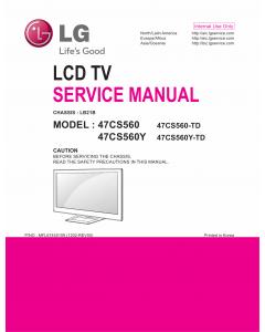 LG LCD TV 47CS560 47CS560Y Service Manual