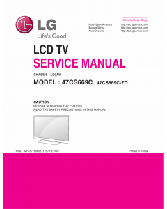 LG LCD TV 47CS669C Service Manual