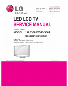 LG LED TV 19LS3500 19LS350S 19LS350T Service Manual