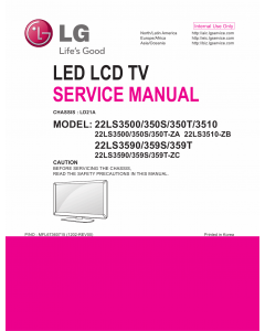 LG LED TV 22LS3500 22LS350S 22LS350T 22LS3510 22LS3590 22LS359S 22LS359T Service Manual
