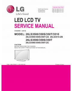 LG LED TV 26LS3500 26LS350S 26LS350T 26LS3510 26LS3590 26LS359S 26LS359T Service Manual