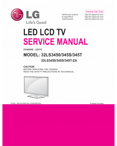 LG LED TV 32LS3450 32LS345S 32LS345T Service Manual