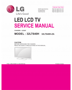 LG LED TV 32LT640H Service Manual