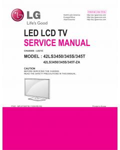 LG LED TV 42LS3450 42LS345S 42LS345T Service Manual