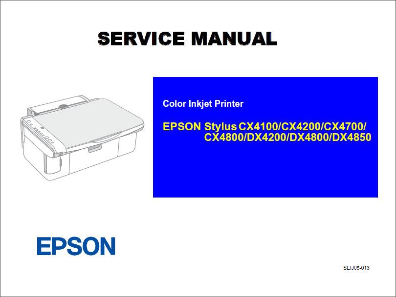 Epson Stylus Cx4100 Cx4200 Cx4700 Cx4800 Dx4200 Dx4800 Dx4850 Service Manual